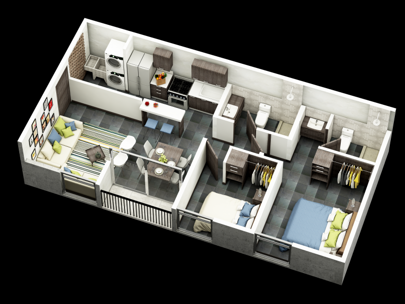 Apartamento modelo, Vista axonometrica, apartamento 60mts2