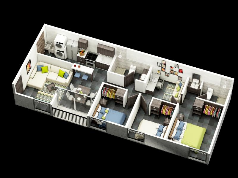Apartamento modelo, Vista axonometrica, apartamento 75mts2